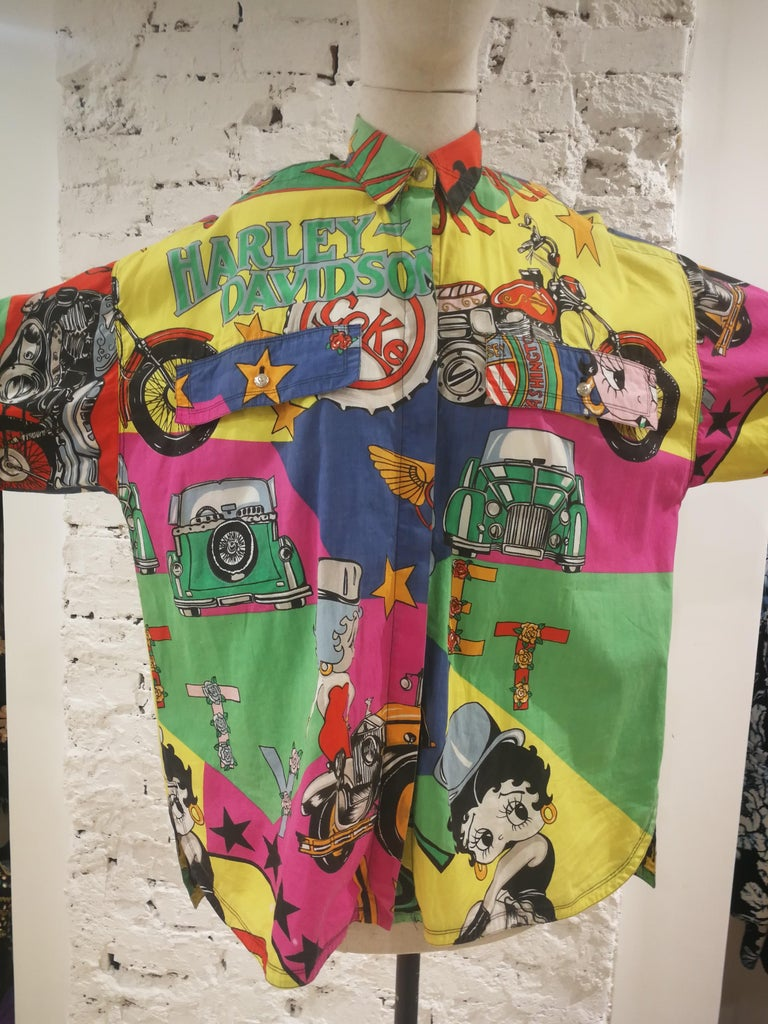 Gianni Versace Betty Boop Harley Davidson print Shirt For Sale 10
