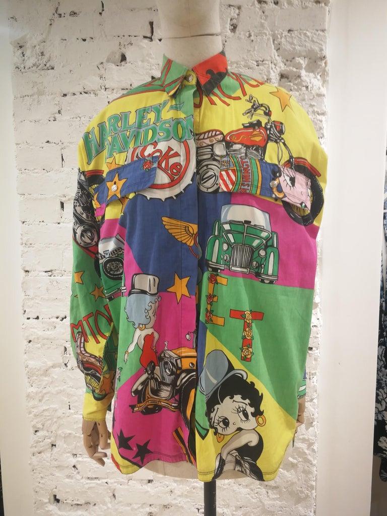 Gianni Versace Betty Boop Harley Davidson print Shirt For Sale 14
