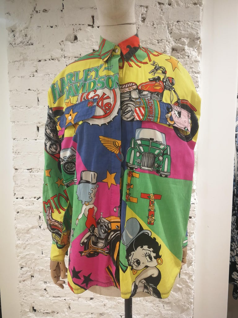 Gianni Versace Betty Boop Harley print Shirt Iconic and rare cotton Versace Shirt  Totally made in italy