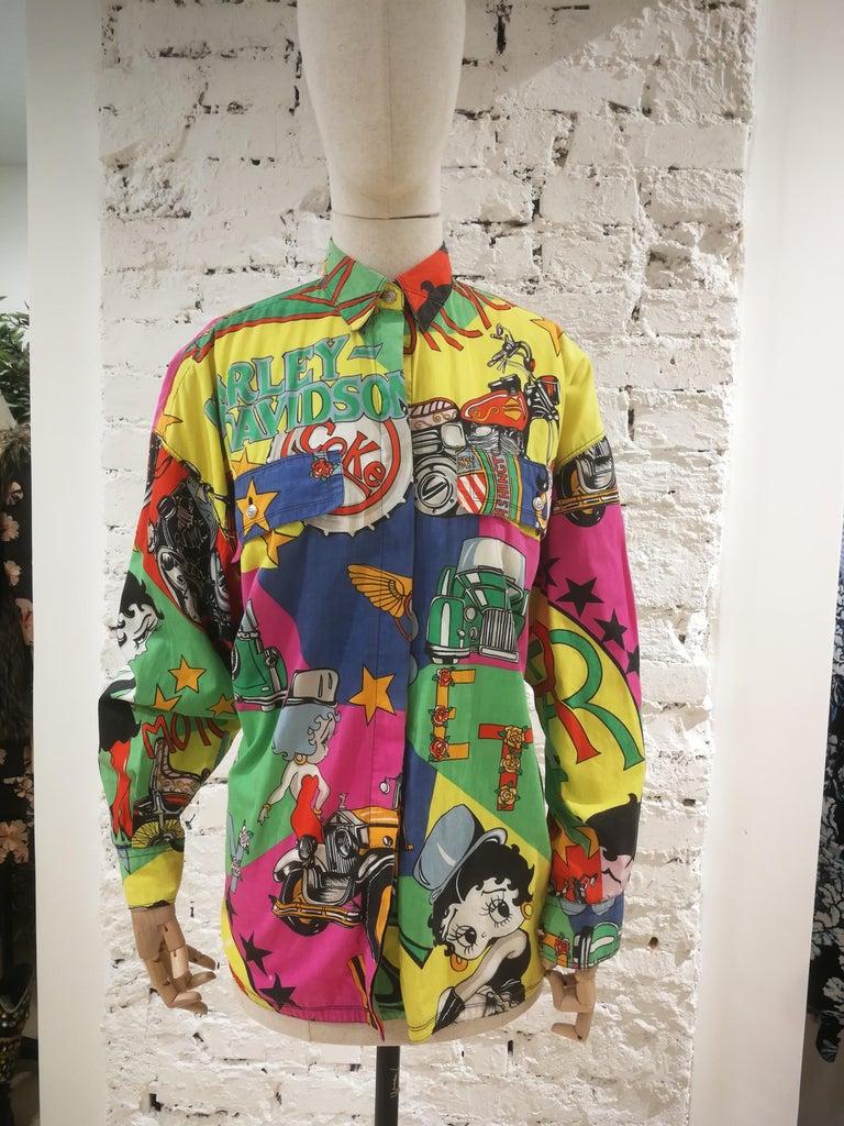 Gianni Versace Betty Boop Harley Davidson print Shirt For Sale 15