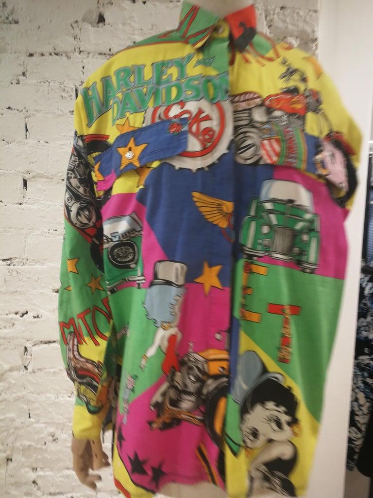 Brown Gianni Versace Betty Boop Harley Davidson print Shirt For Sale
