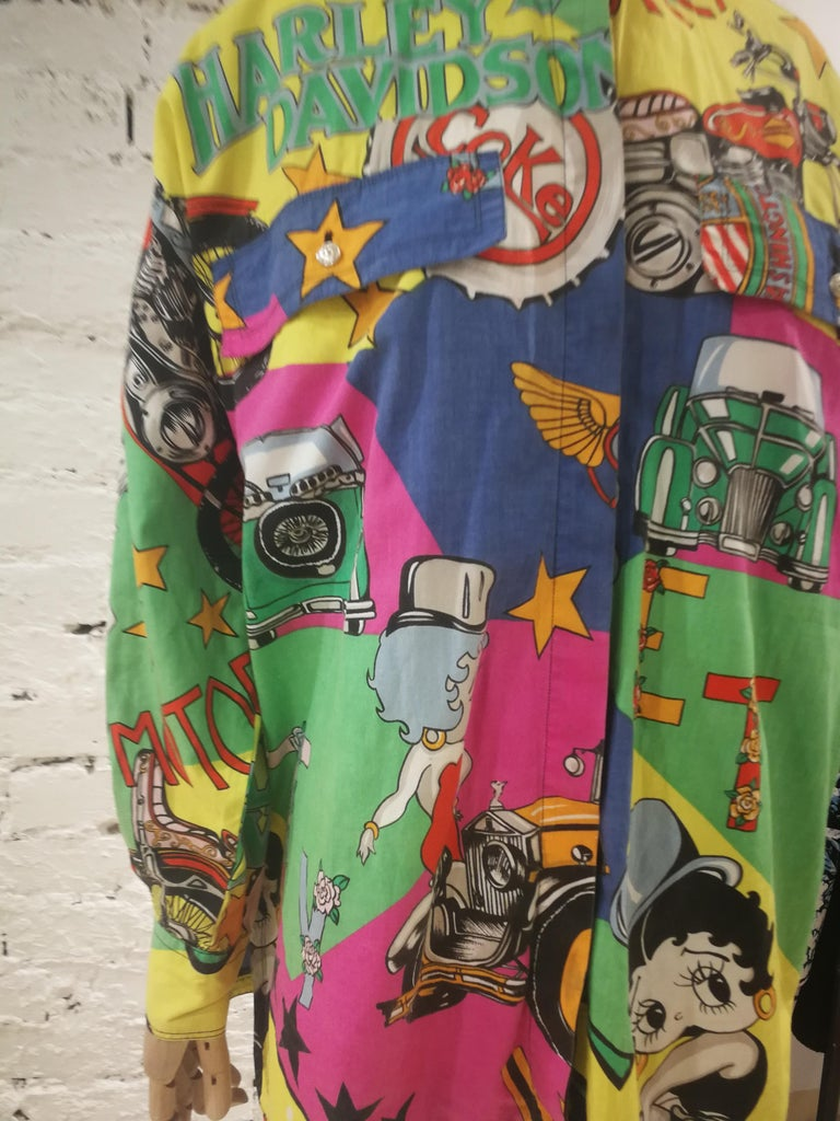 Gianni Versace Betty Boop Harley Davidson print Shirt In Excellent Condition For Sale In Capri, IT