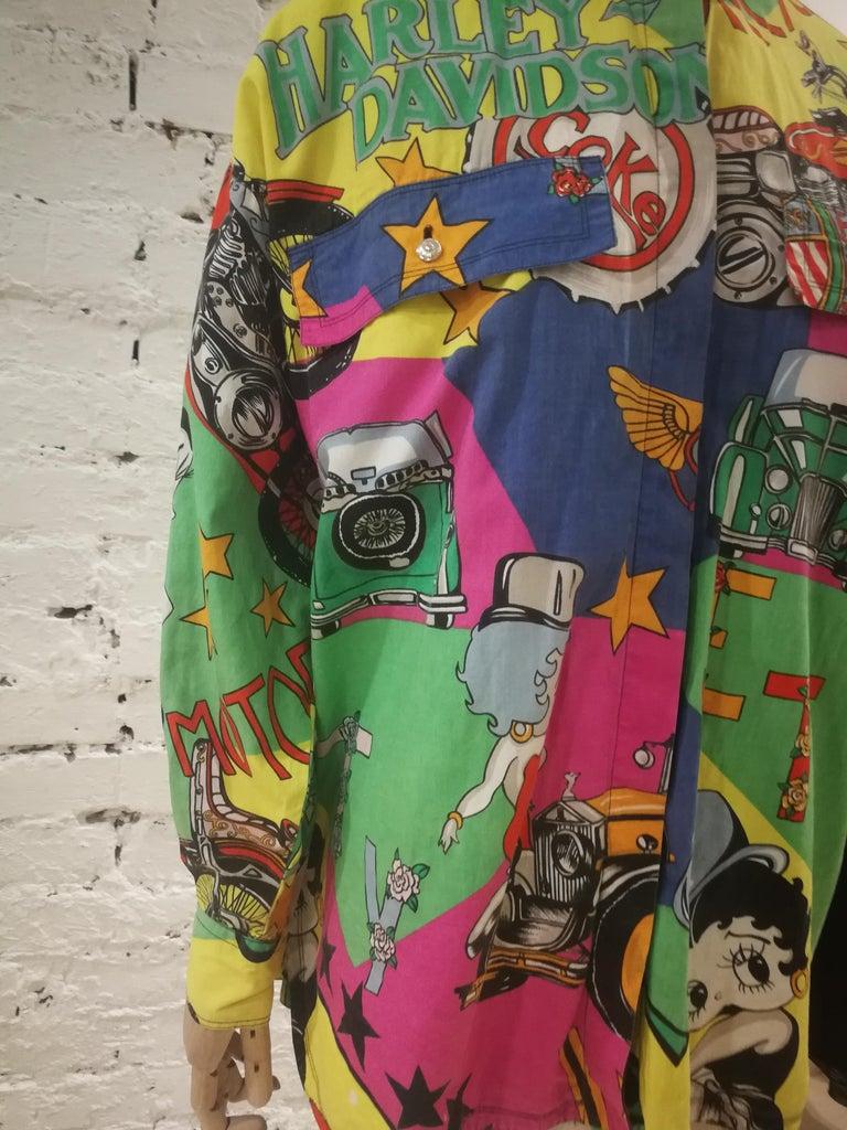 Women's or Men's Gianni Versace Betty Boop Harley Davidson print Shirt For Sale