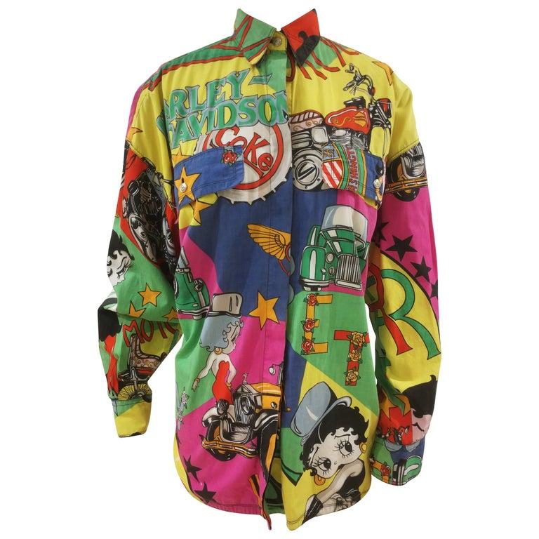 Gianni Versace Betty Boop Harley Davidson print Shirt For Sale