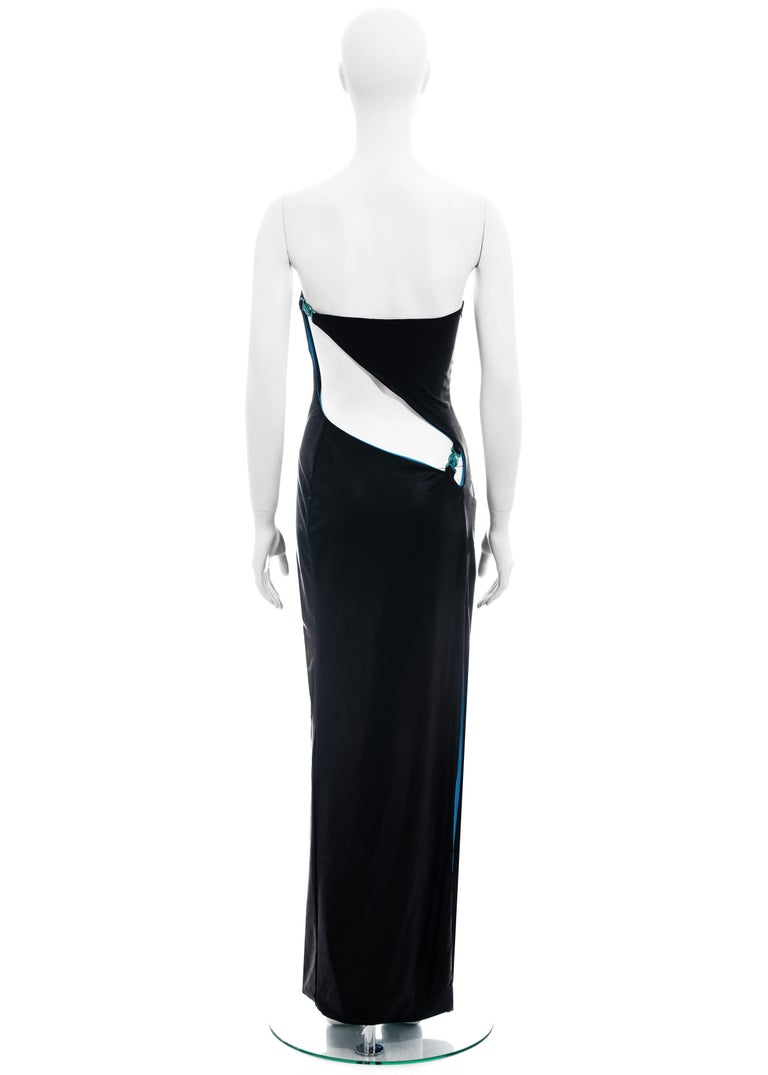 Black Gianni Versace black and electric blue strapless maxi dress, ss 1998 For Sale