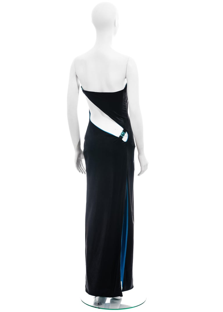 Gianni Versace black and electric blue strapless maxi dress, ss 1998 For Sale 2