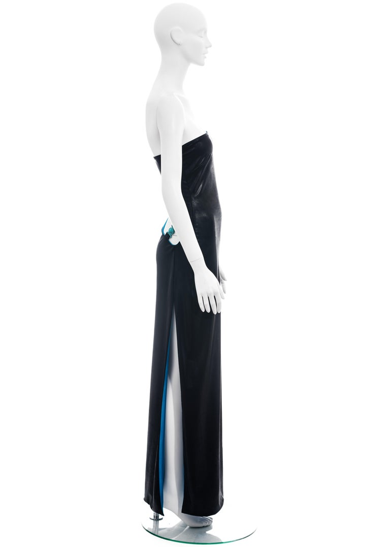 Gianni Versace black and electric blue strapless maxi dress, ss 1998 For Sale 3