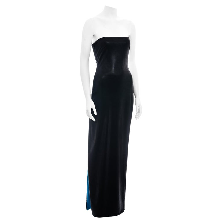 Gianni Versace black and electric blue strapless maxi dress, ss 1998 For Sale