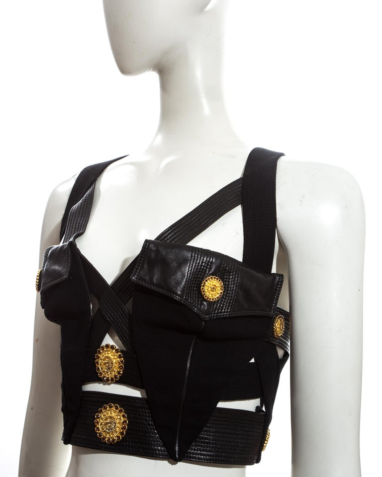 Gianni Versace black and gold leather bondage Medusa vest, fw 1992 In Good Condition For Sale In London, GB