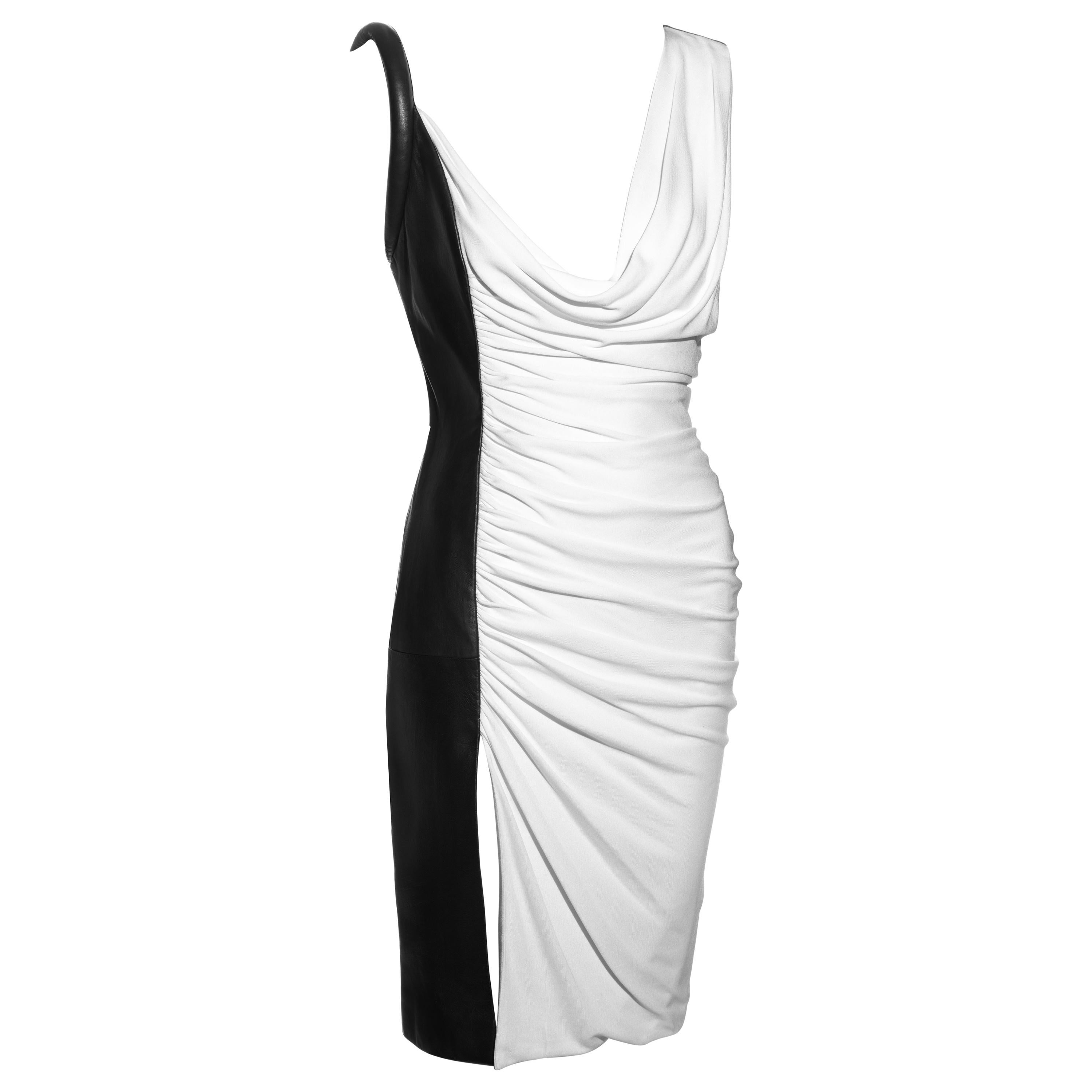 Gianni Versace black and white leather and rayon evening dress, fw 1997