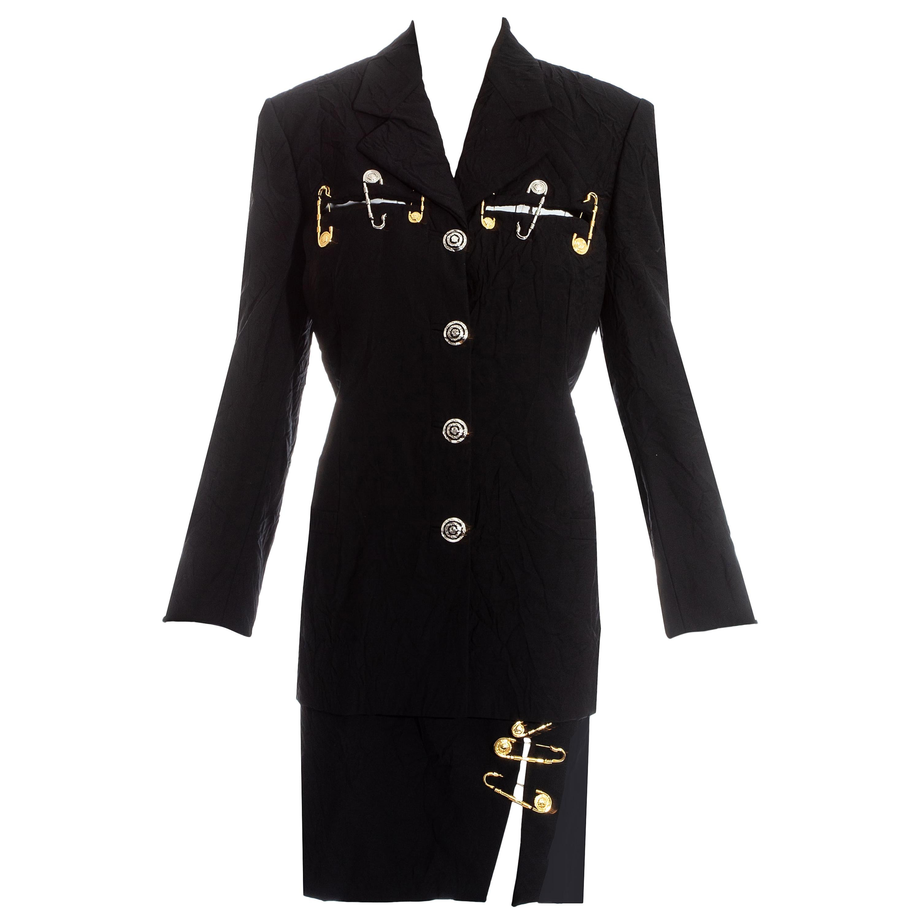 7a914e3c0a Gianni Versace black crinkled safety pin skirt suit, ss 1994