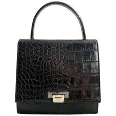 1990s Gianni Versace Black Crocodile Print Leather Tote Bag