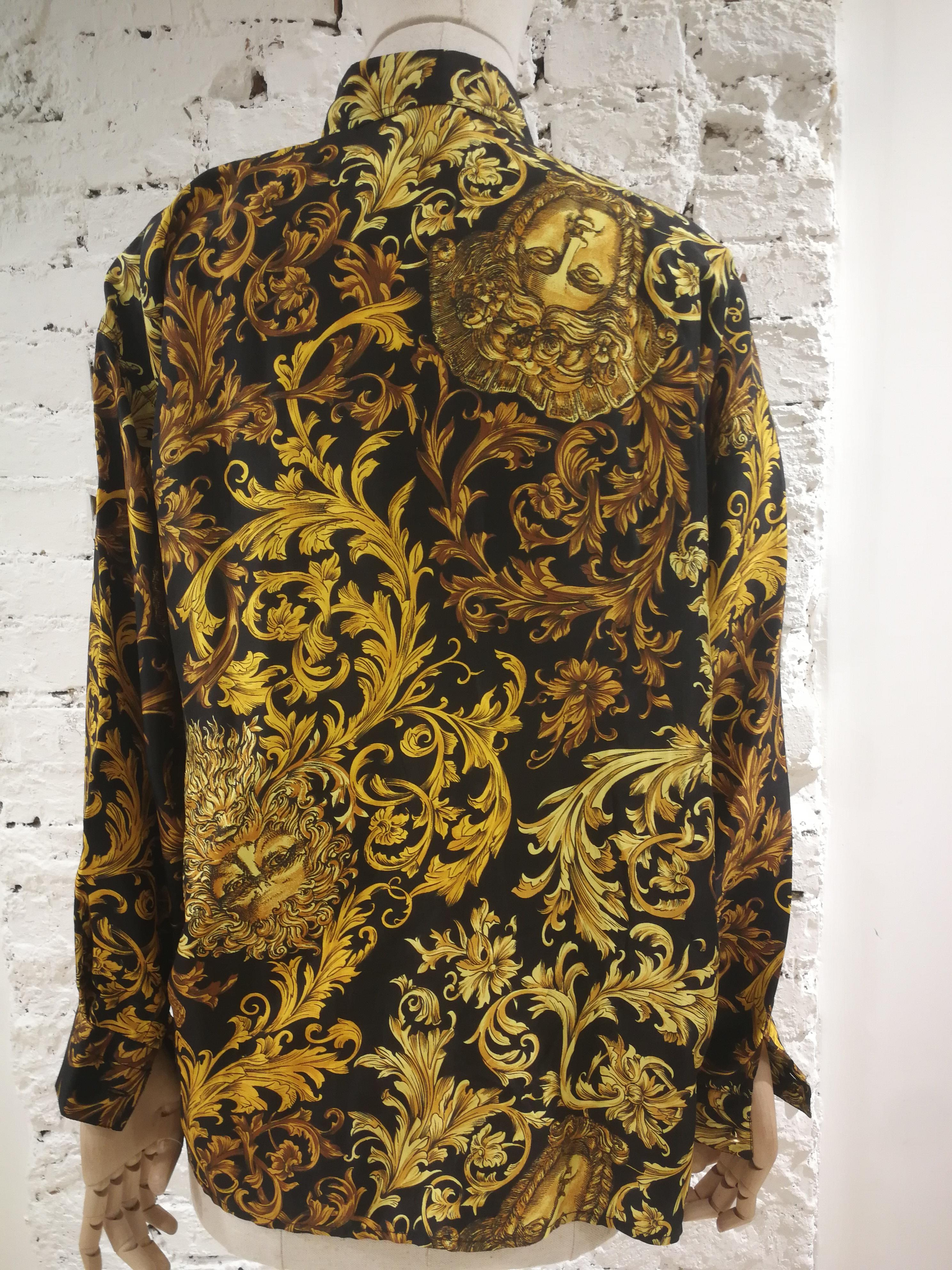 9c74951f7f654e Gianni Versace Black Gold Baroque Silk Shirt For Sale at 1stdibs