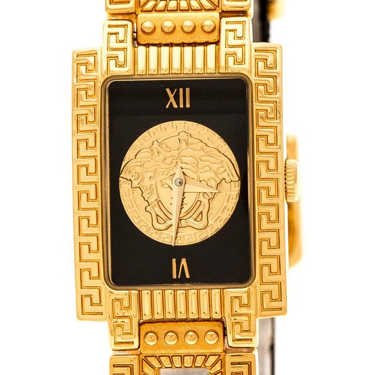 Contemporary Gianni Versace Black Gold Plated Medusa 7009017 Women's Wristwatch 20 mm For Sale