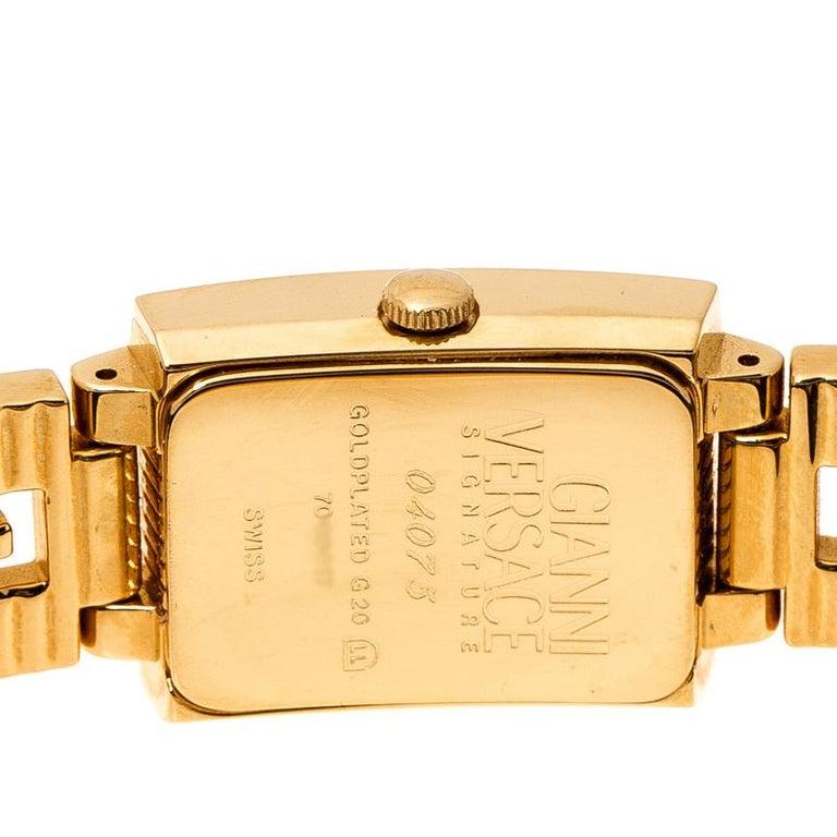 Gianni Versace Black Gold Plated Medusa 7009017 Women's Wristwatch 20 mm In Good Condition For Sale In Dubai, Al Qouz 2