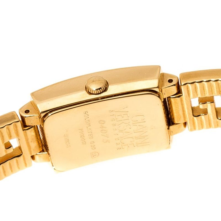 Gianni Versace Black Gold Plated Medusa 7009017 Women's Wristwatch 20 mm For Sale 2