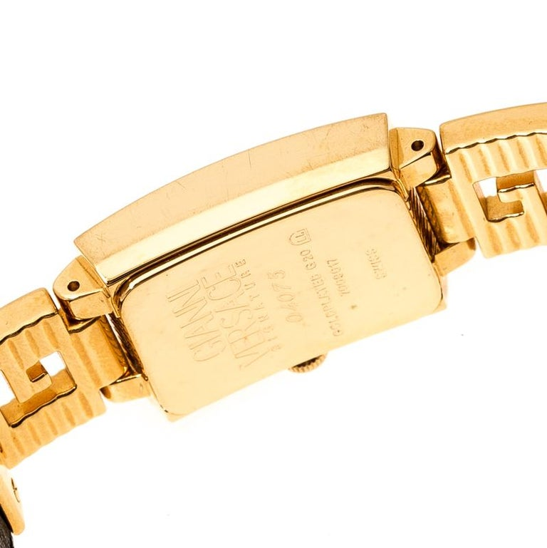 Gianni Versace Black Gold Plated Medusa 7009017 Women's Wristwatch 20 mm For Sale 3