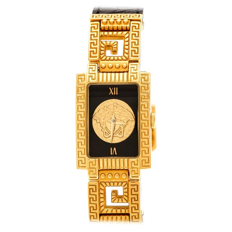 Gianni Versace Black Gold Plated Medusa 7009017 Women's Wristwatch 20 mm For Sale