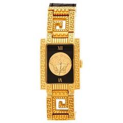 Gianni Versace Black Gold Plated Signature Medusa 7009017 Wristwatch 20 mm