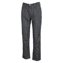 Gianni Versace Black Gray Pinstripe Spotted Lurex Trousers