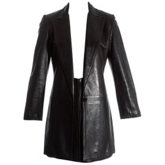 Gianni Versace black lambskin leather blazer jacket and skirt suit, fw 1997