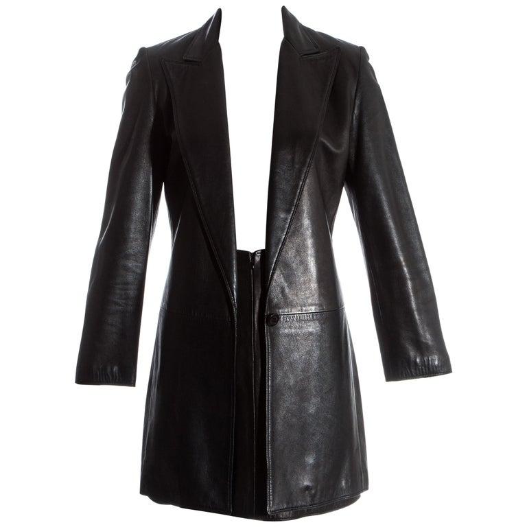 21b4be7c Gianni Versace black lambskin leather blazer jacket and skirt suit, fw 1997