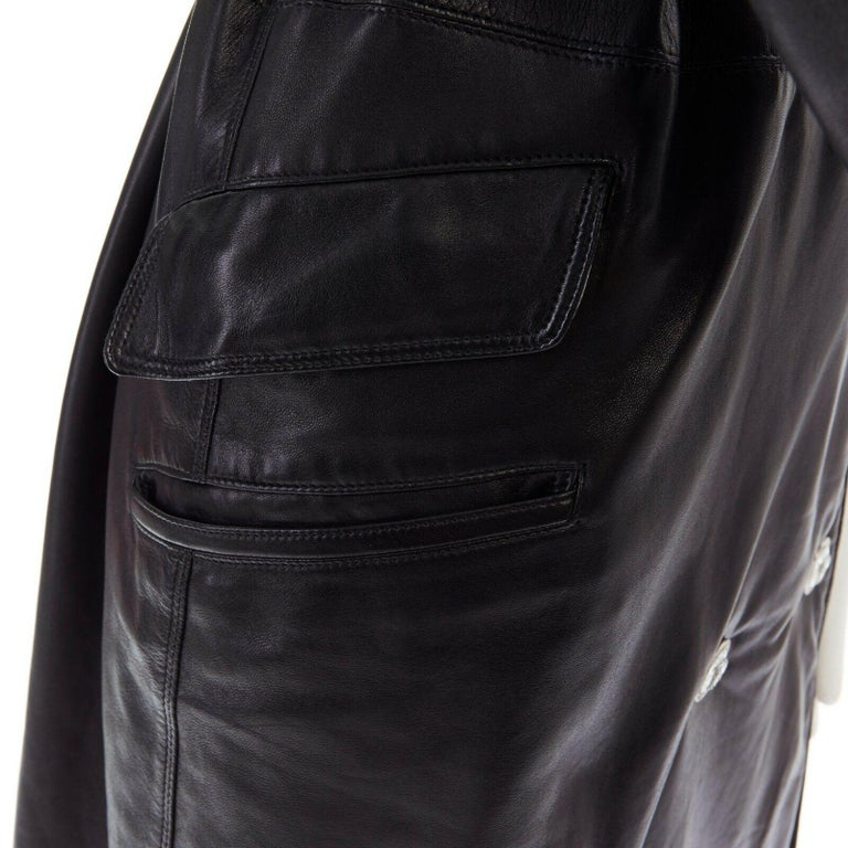 GIANNI VERSACE black leather double breasted Medusa button belted coat IT38 XS For Sale 7