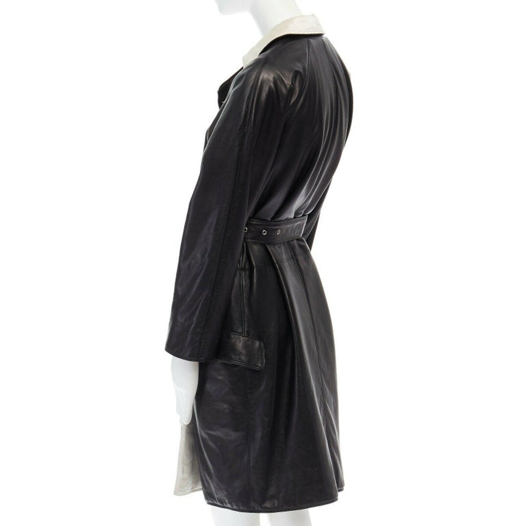 GIANNI VERSACE black leather double breasted Medusa button belted coat IT38 XS For Sale 2