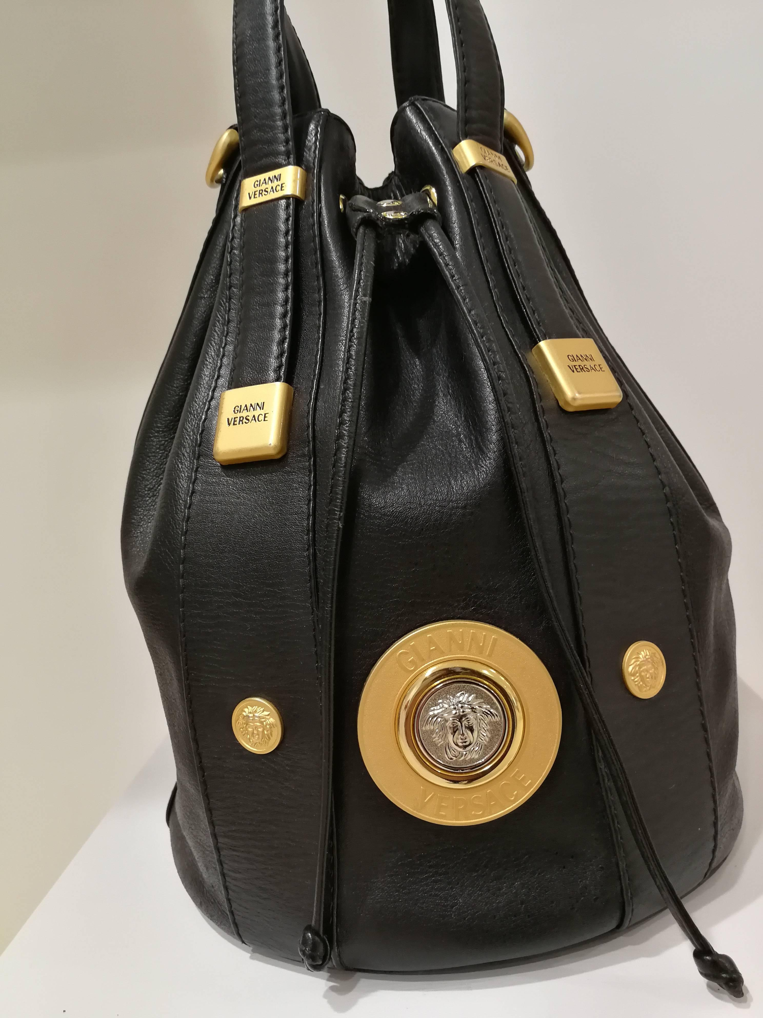 84931e59ed Gianni Versace Black leather Gold and Silver Tone Studs Satchel - Shoulder  Bag at 1stdibs