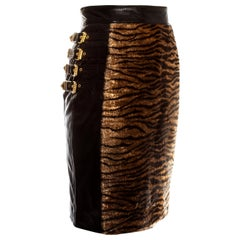 Gianni Versace black leather gold buckled skirt with animal print, fw 1994