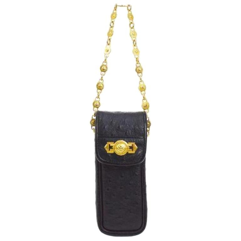 Gianni Versace Black Leather Gold Chain Small Mini Pochette Cell Makeup Bag