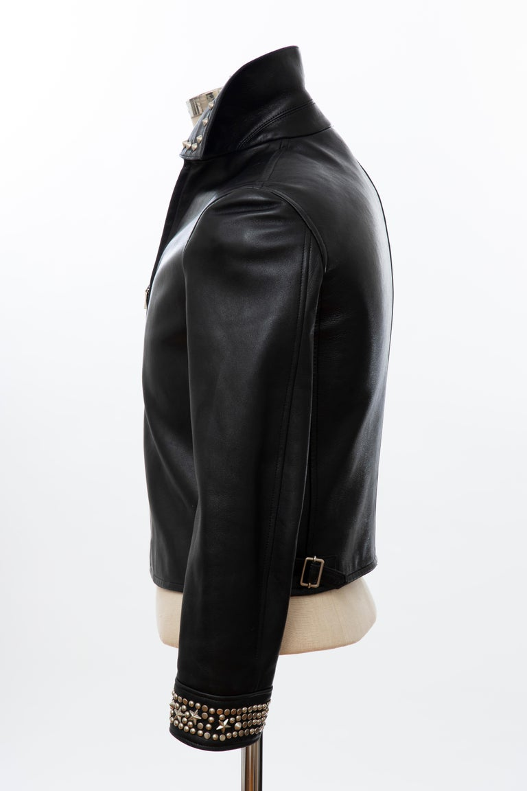 Gianni Versace Black Leather Jacket Pewter Stud Collar & Cuffs,  Circa: 1990's For Sale 6