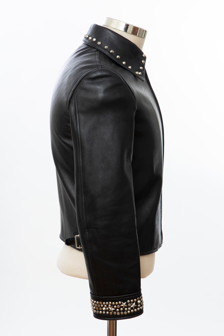 Gianni Versace Black Leather Jacket Pewter Stud Collar & Cuffs,  Circa: 1990's For Sale 8
