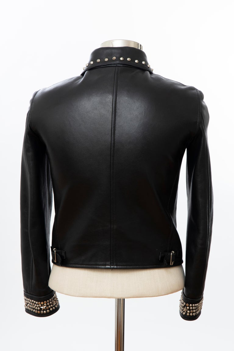 Gianni Versace Black Leather Jacket Pewter Stud Collar & Cuffs,  Circa: 1990's For Sale 9