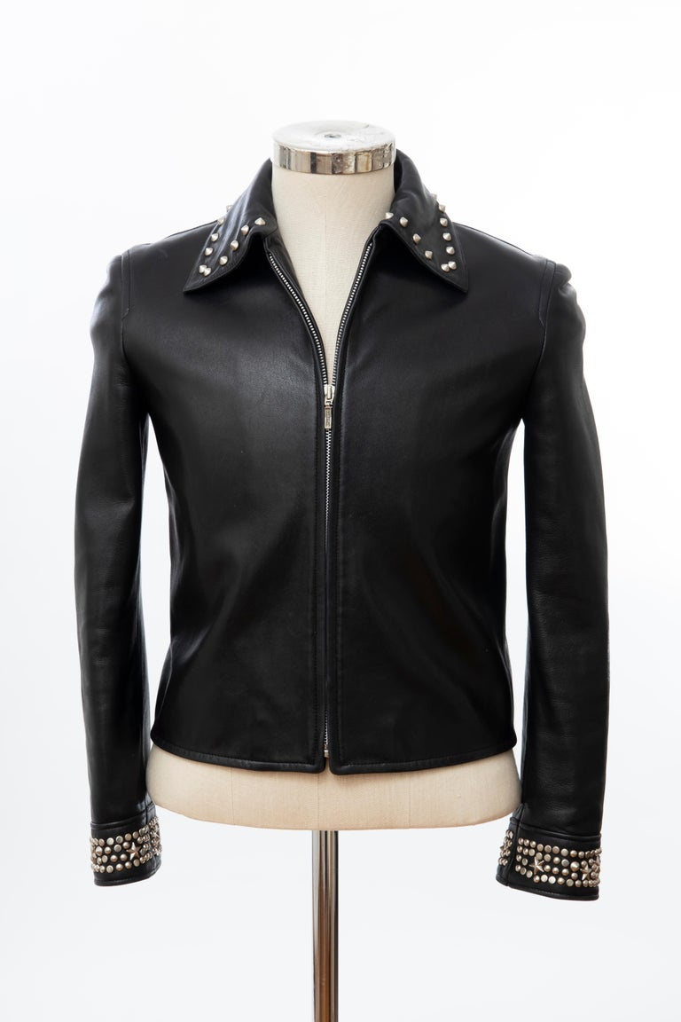 Gianni Versace Black Leather Jacket Pewter Stud Collar & Cuffs,  Circa: 1990's For Sale 10