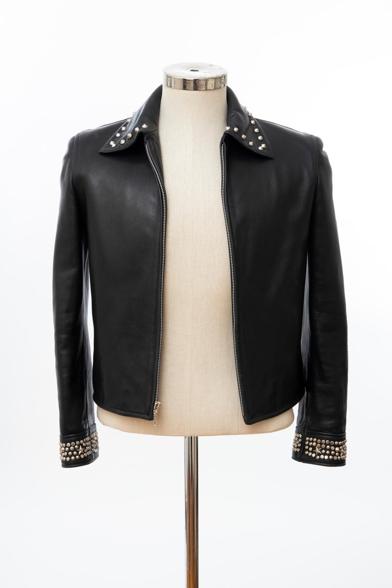 Gianni Versace Black Leather Jacket Pewter Stud Collar & Cuffs,  Circa: 1990's For Sale 11
