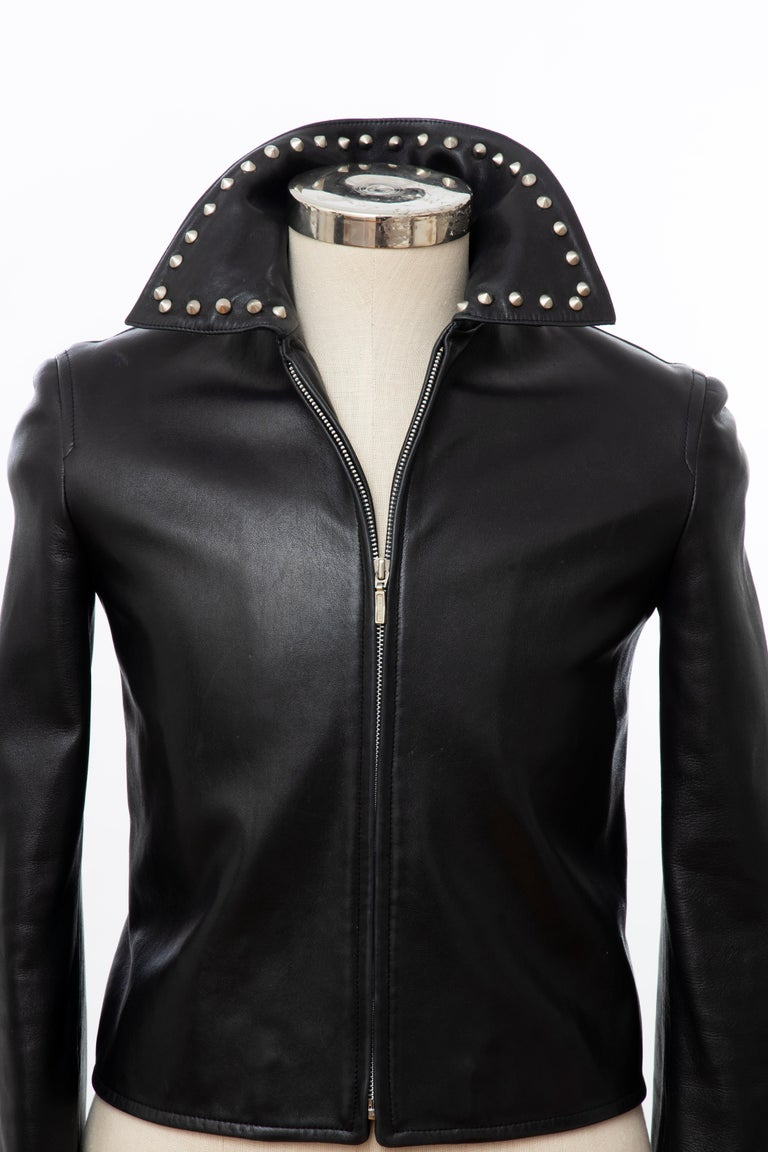 Gianni Versace Black Leather Jacket Pewter Stud Collar & Cuffs,  Circa: 1990's In Excellent Condition For Sale In Cincinnati, OH