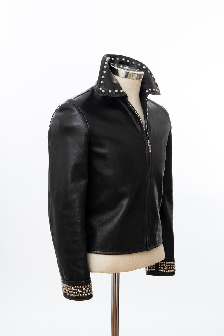 Women's Gianni Versace Black Leather Jacket Pewter Stud Collar & Cuffs,  Circa: 1990's For Sale
