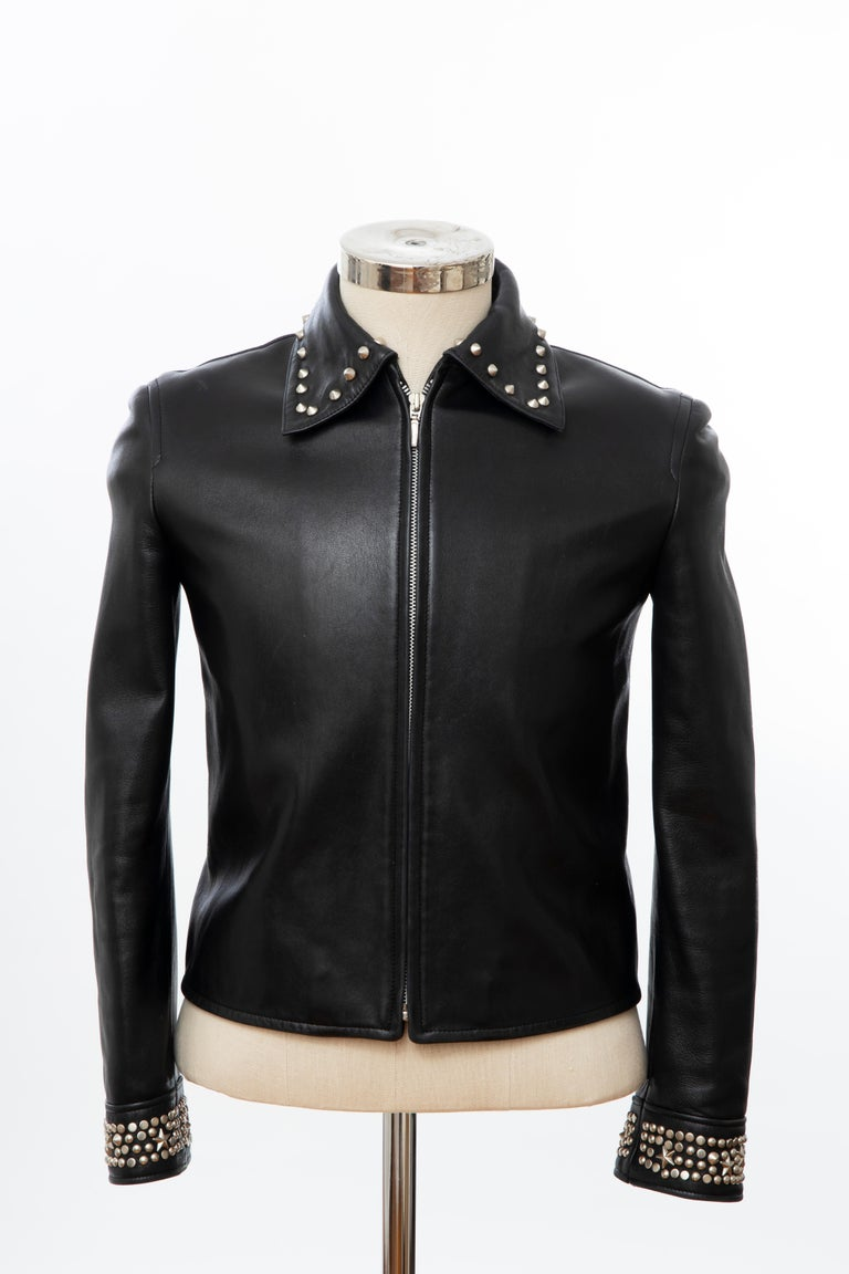 Gianni Versace Black Leather Jacket Pewter Stud Collar & Cuffs,  Circa: 1990's For Sale 1