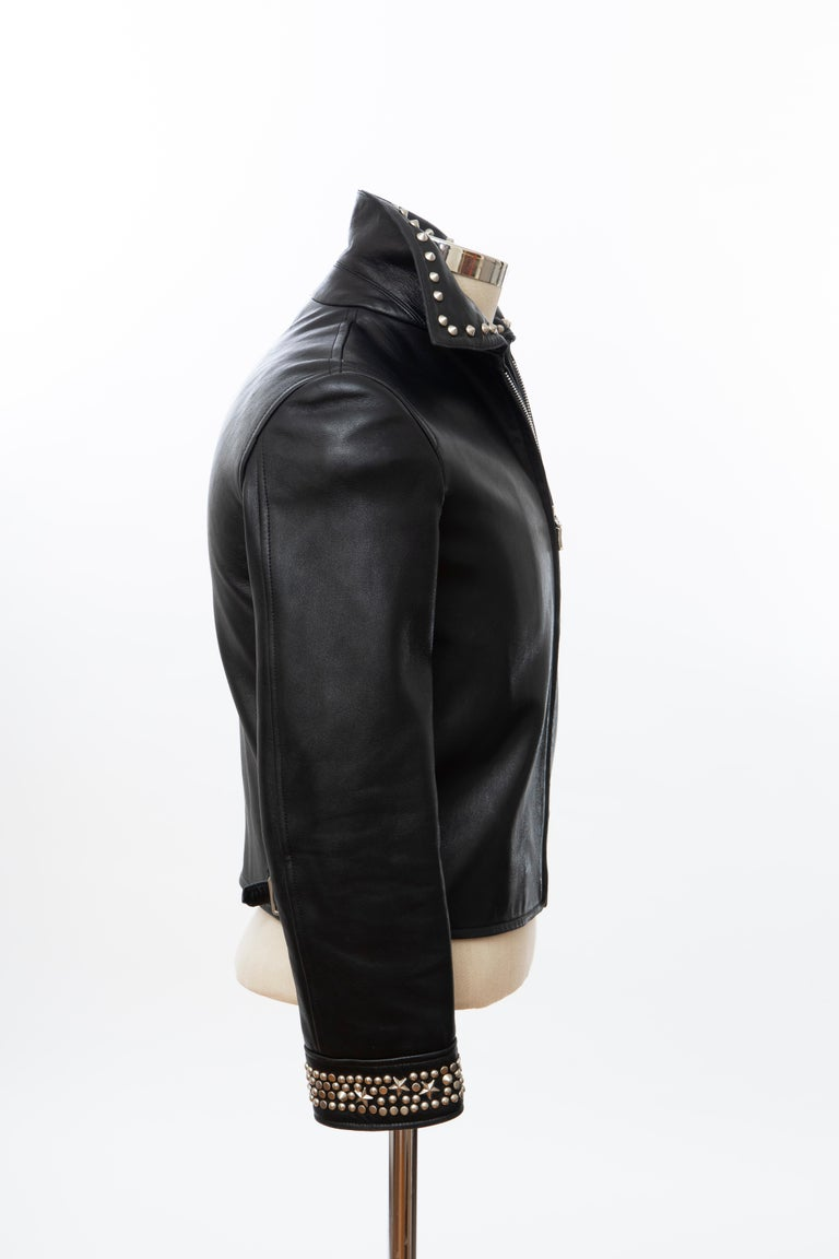 Gianni Versace Black Leather Jacket Pewter Stud Collar & Cuffs,  Circa: 1990's For Sale 2