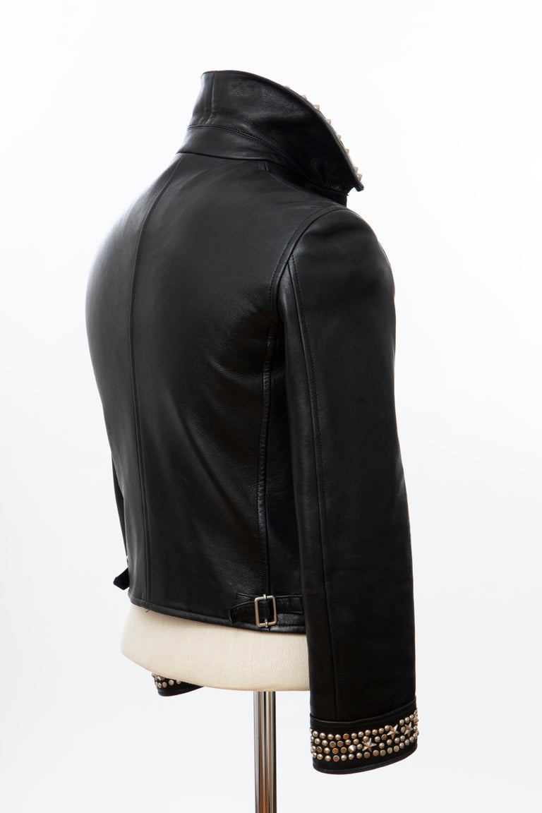 Gianni Versace Black Leather Jacket Pewter Stud Collar & Cuffs,  Circa: 1990's For Sale 3