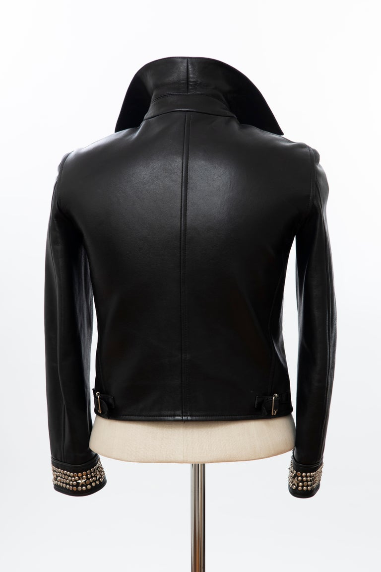 Gianni Versace Black Leather Jacket Pewter Stud Collar & Cuffs,  Circa: 1990's For Sale 4