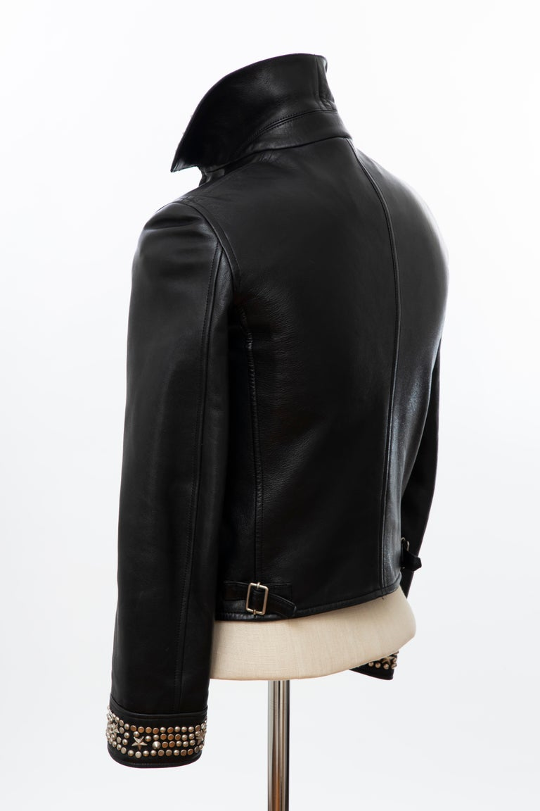 Gianni Versace Black Leather Jacket Pewter Stud Collar & Cuffs,  Circa: 1990's For Sale 5