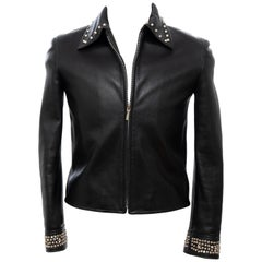 Gianni Versace Black Leather Jacket Pewter Stud Collar & Cuffs,  Circa: 1990's
