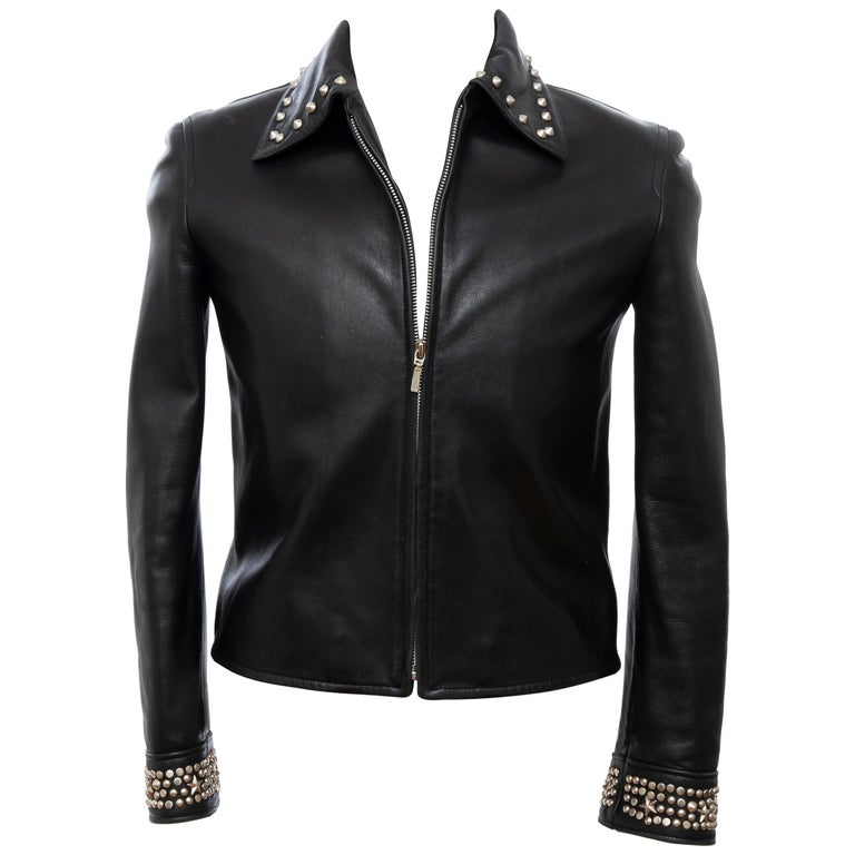 Gianni Versace Black Leather Jacket Pewter Stud Collar & Cuffs,  Circa: 1990's For Sale