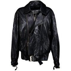 Gianni Versace Black Leather Motorcycle Jacket size M