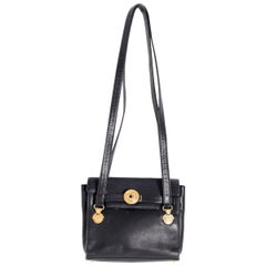 Gianni Versace Black Leather Shoulder Bag Medusa 1990s