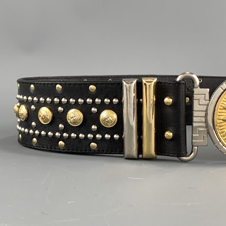 GIANNI VERSACE Black Leather Silver & Gold Tone Studded Medusa Belt In Good Condition For Sale In San Francisco, CA