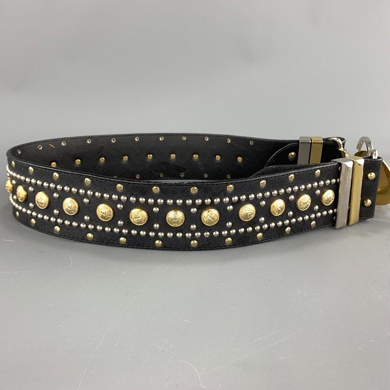 GIANNI VERSACE Black Leather Silver & Gold Tone Studded Medusa Belt For Sale 1