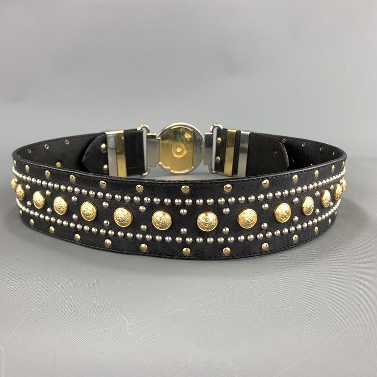 GIANNI VERSACE Black Leather Silver & Gold Tone Studded Medusa Belt For Sale 2